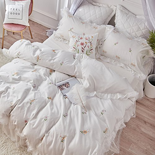 - Bedding Collections Four pieces of american 60-piece cotton satin embroidery quilt cover cotton simple skirt-A 220x240cm(87x94inch)