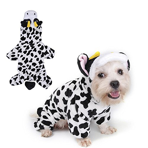 Cow Costume Xxl Dog (WMSTUDIO Dog Pajamas,Winter Puppy Cats Warm Soft Coral Fleece Cute Cows Hoodie Plush Costumes,)