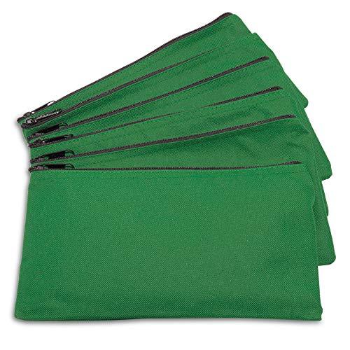 (DALIX Zipper Bank Deposit Money Bags Cash Coin Pouch 6 Pack in Dark Green)