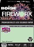 BOISE FIREWORX PREMIUM MULTI-USE COLORED PAPER, 8 1/2'' x 11'', Letter, Popper-Mint Green, 24 lb., 5000 Sheets/Carton, 40 Cartons/Pallet