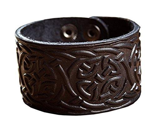 Genuine Leather Viking Bracelet - Cuff Wristband Celtic Knotwork Nordic Talisman Tress design from NOVA Leather Craft