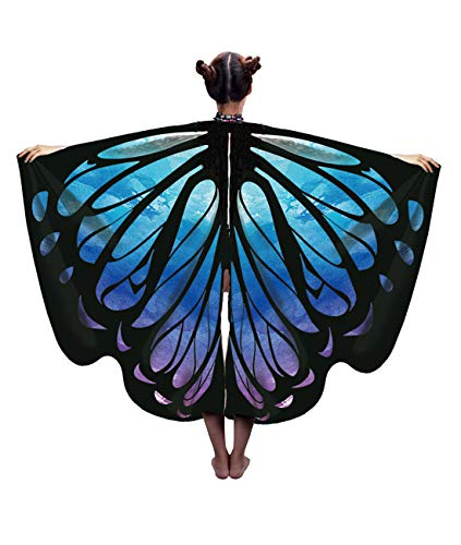 NEWCOSPLAY Halloween Party Soft Fabric Butterfly Wings Shawl Fairy Child Nymph Pixie Costume Accessory (Starry Sky) ()