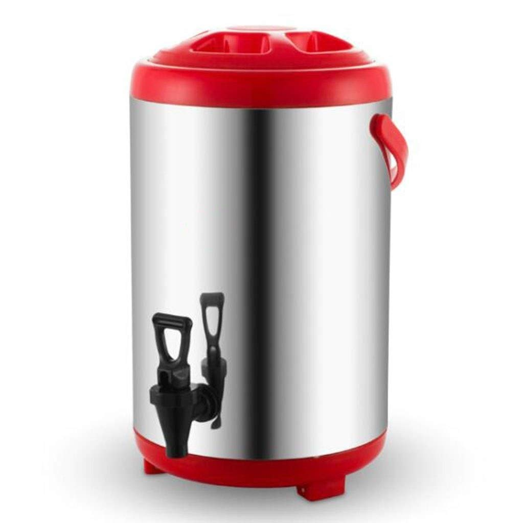 JBHURF Catering Crocker Tea Cylinder Hot Water Boiler 6L / 8L / 10L / 12L Home Brewing Commercial or Office Use Stainless Steel Cooking and Catering (Color : Red, Size : 10) by JBHURF