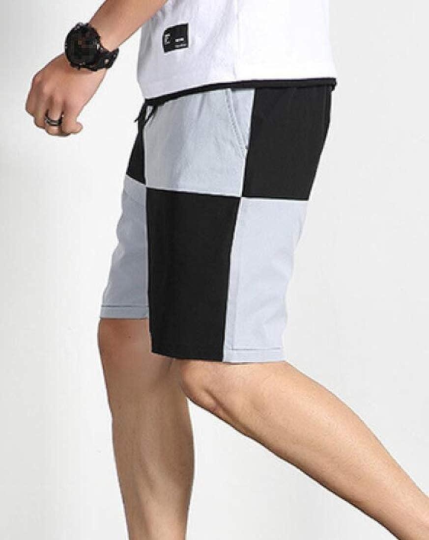 Joe Wenko Men Beachwear Spell Color Sport Breathable Drawstring Short Pants
