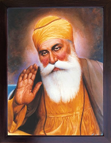 Sikh Guru, Gurunank Dev ji giving blessing and wearing Mala, A frame picture for Sikh Religious people, A Sikh Religious poster with frame must for every Sikh religious family, office, Gift and Sikh h