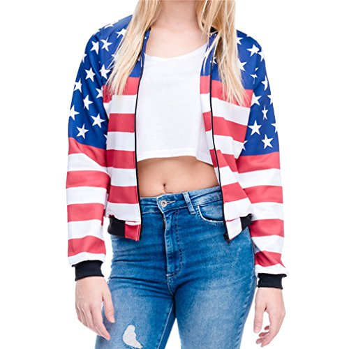Bomber Jacket Women 3D Printed USA Flag Harajuku Fashion Swag