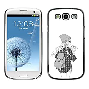 A-type Colorful Printed Hard Protective Back Case Cover Shell Skin for SAMSUNG Galaxy S3 III / i9300 / i747 ( Hipster Girl Fashion School Black White )