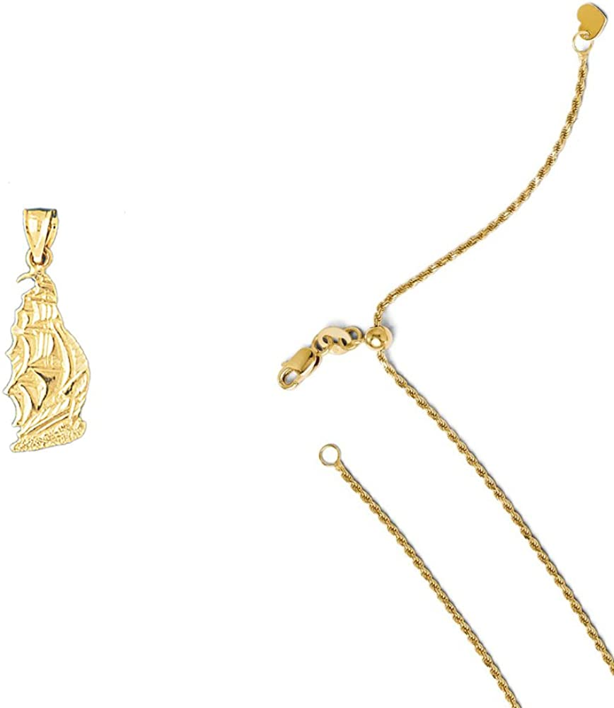 14K Yellow Gold Pirate Ship Pendant on an Adjustable 14K Yellow Gold Chain Necklace