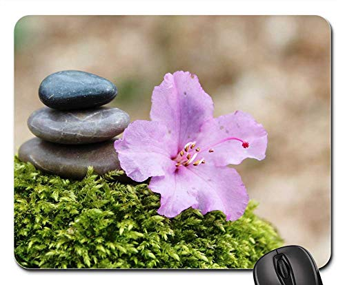 Stone Stamp Pads - Mouse Pad - Azalea Stone Pile Stack Stones Blossom Bloom Pink 1
