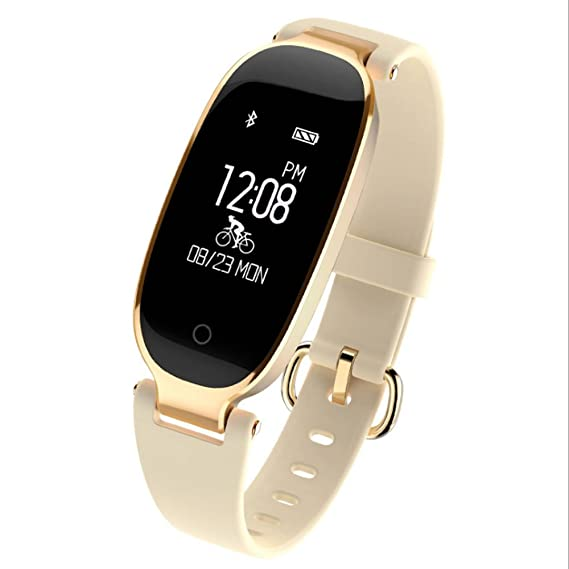 Reloj Inteligente Mujeres Pulseras Gimnasio Pulsera beart Rate Monitor IP68 Impermeable Bluetooth para iOS Android (