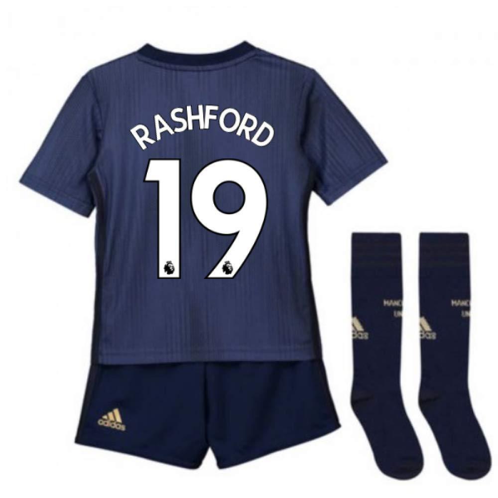 UKSoccershop 2018-2019 Man Utd Adidas Third Little Boys Mini Kit (Marcus Rashford 19)