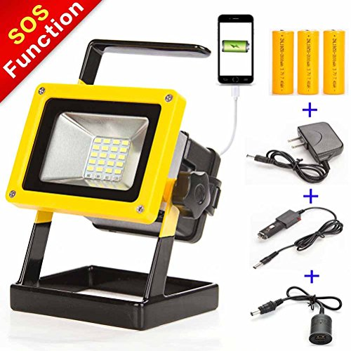 10W 24LED Portable Spotlight Built-in Rechargeable Lithium Battery Flood Work Light with Roadside Emergency SOS Function for Repairing Car Fishing Hiking by SUNZONE