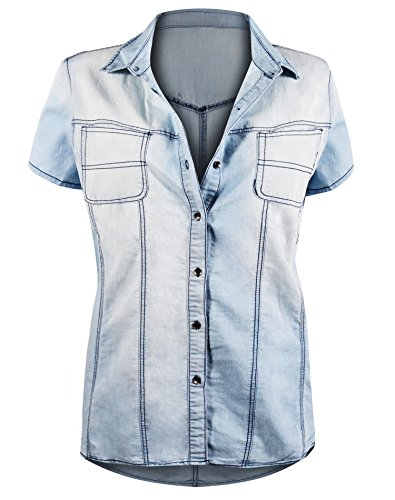 HOT FROM HOLLYWOOD Women's Button Down Roll up Sleeve Classic Denim Shirt Tops by HOT FROM HOLLYWOOD