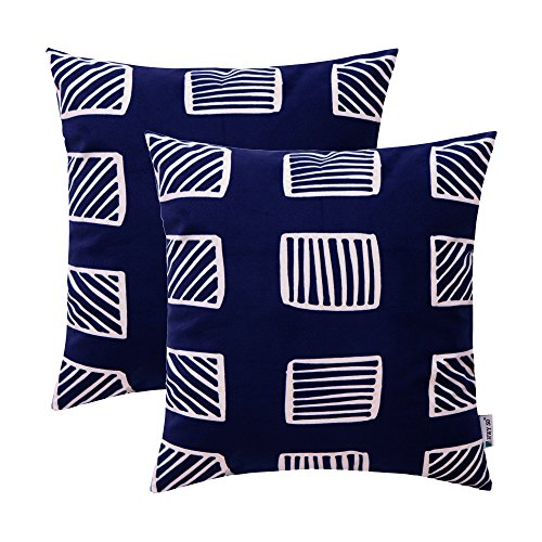 (HWY 50 Comfortable Decorative Throw Pillow Covers Sets Cushion Cases for Couch Sofa Living Room Blue European Geometry Square 18x18 inch Pack of 2)