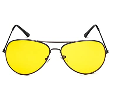 6138c78d95 Armear Night Vision Oversized Retro Aviator Sunglasses Metal Frame (Yellow
