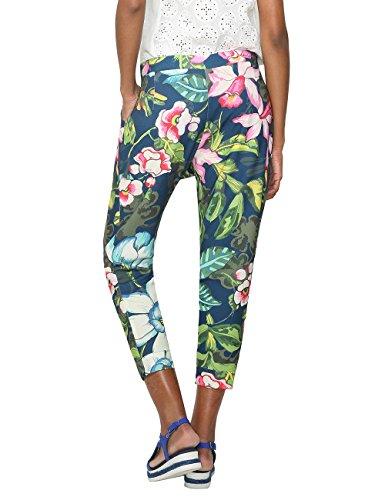 Desigual Floreado - Pantalones Mujer Azul