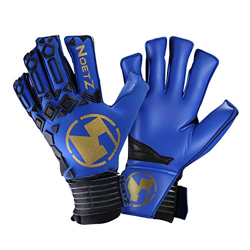NoetZ Goalkeeper Gloves w/Removable 5-Fingersaver Protection - Blue and Gold