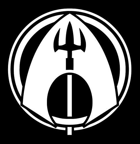 (UR Impressions Aquaman Trident Logo Insignia Decal Vinyl Sticker Graphics for Cars Trucks SUV Vans Walls Windows Laptop White 5.6 X 5.5 Inch URI487)