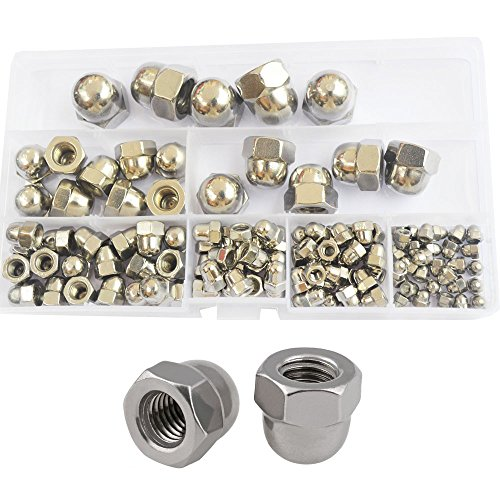 Hex Acorn Cap Nut Hexagon Decorative Cover Semicircle Dome Nuts Metric Threaded M3 M4 M5 M6 M8 M10 M12 Assortment Kit Set 120pcs 304 Stainless Steel