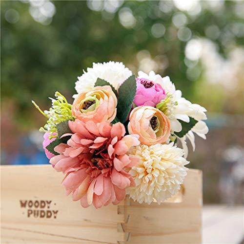 KONANE 1 Bouquet Hand Tied Silk Flowers for Wedding Bridal Birthday Party Home Decoration Plant