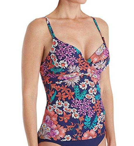 (Captiva Women's Sanibel Wave Crossover Underwire Push-up Bra Tankini, Striped Bloom, Multi/Colored, S)