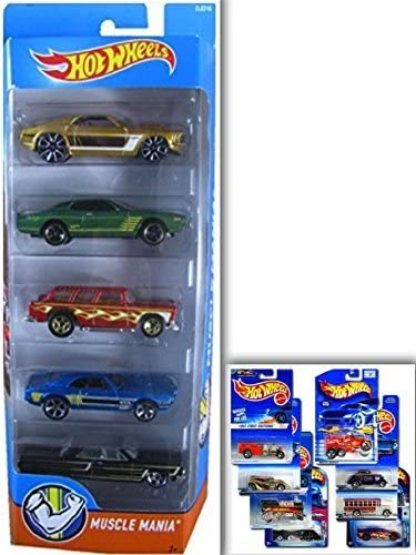 Hot Wheels Muscle Mania Bundle- 5 Pack: 64 Chevy Impala, 67 Pontiac Firebird 400, 69 Ford Mustang, 74 Dodge Charger, 55 Chevy Nomad & 1 Hotwheels Die Cast Metal Car (Assortments May Vary): Amazon.es: Hogar