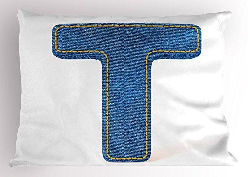 Ambesonne Letter T Pillow Sham, Alphabet Design with Denim Texture Element Blue Jeans Stitches Illustration Print, Decorative Standard Size Printed Pillowcase, 26 X 20 Inches, Blue Yellow