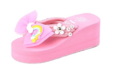 6e6babe39c90 Summer Cute Beach Shoes Sandals Women s flip Flops Bow Slippers  Outdoor(Pink 35 4.5