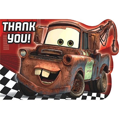 AmscanDisney Cars Formula Racer Birthday Party Postcard Thank You Cards Kit (8 Pack), 4 1/4