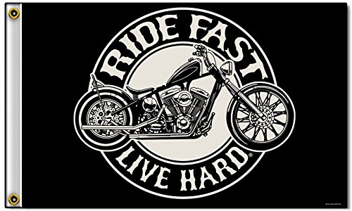 Novelties Company Ride Fast Live Hard Circle Motorcycle Biker Polyester 3 x 5 Foot Flag ()