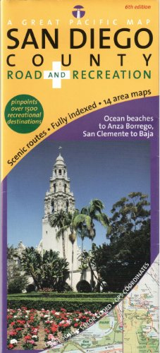 San Diego County Road & Recreation Map, 6th - Area Malls Shopping Bay In