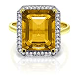 ALARRI 5.8 CTW 14K Solid Gold Love Parade Citrine Diamond Ring With Ring Size 7