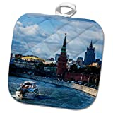 3dRose Alexis Photography - Moscow Kremlin - Tourist boat goes past Moscow Kremlin in a sunny autumn day - 8x8 Potholder (phl_271298_1)