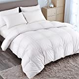 PUREDOWN Goose Down Comforter 600 Fill Power Cotton Shell 500 Thread Count Stripe Full/Queen White