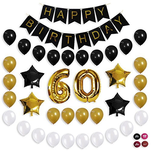 Image Is Loading 60Th Birthday Decorations Balloon Banner Party Supplies Office