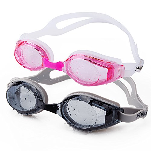 Swimming Goggles, FiveBox 2-pack Adult Waterproof Anti-shatter Uv Protection Swim Goggles for Men Women,Watertight Swimming Glass for Indoor and Open Water Swimming with Glass - Open Goggles
