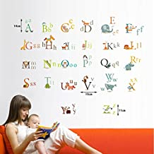 Lovely Animals Letters Educational Wall Decal Home Sticker Paper Removable Living Dinning Room Bedroom Kitchen Art Picture Murals DIY Stick Girls Boys kids Nursery Baby Playroom Decoration