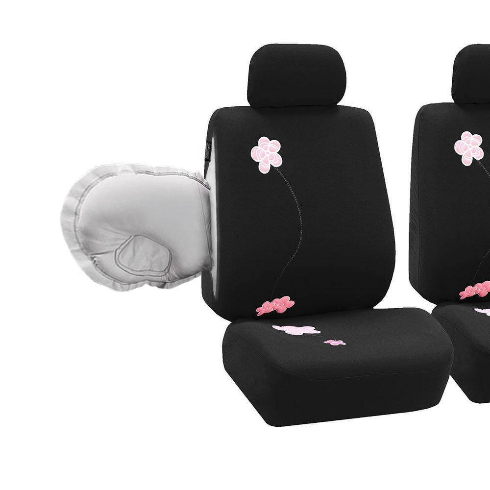 FH Group LIMITED TIME ONLY FH-FB053-1115 Floral Embroidery Design Car Seat Covers, Airbag Ready and Split Bnech, Black Color- Fit Most Car, Truck, Suv, or Van