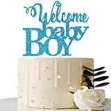 Blue Welcome Baby Boy Cake Topper - Baby Shower Party Decorations - Baby Boy First Birthday Party Decorations - Gender Reveal for Baby Boy Party Decorations