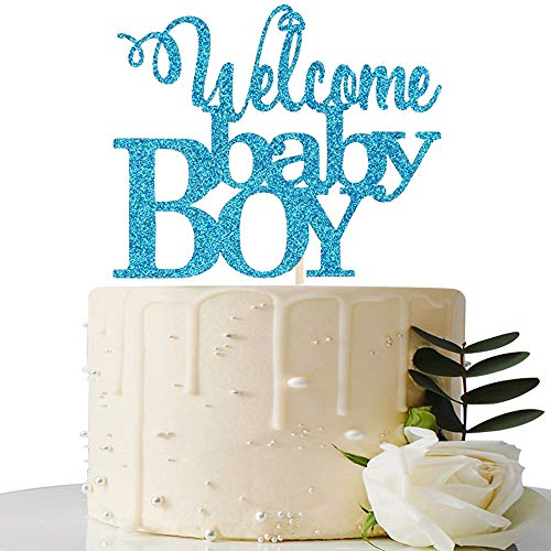 Blue Welcome Baby Boy Cake Topper - Baby Shower Party Decorations - Gender Reveal for Baby Boy Party Decorations