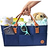 NEW Baby Diaper Caddy by Hibiscus & Co. | Nursery Organizer | Large Portable Car Travel Tote Bag | Storage Bin for Diaper Changing Table| Newborn Essentials | Girl Boy Baby Shower Registry Gift Basket