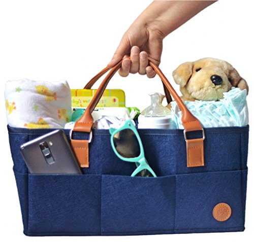 NEW Baby Diaper Caddy by Hibiscus & Co. | Nursery Organizer | Large Portable Car Travel Tote Bag | Storage Bin for Diaper Changing Table| Newborn Essentials | Girl Boy Baby Shower Registry Gift Basket by Hibiscus & Co.
