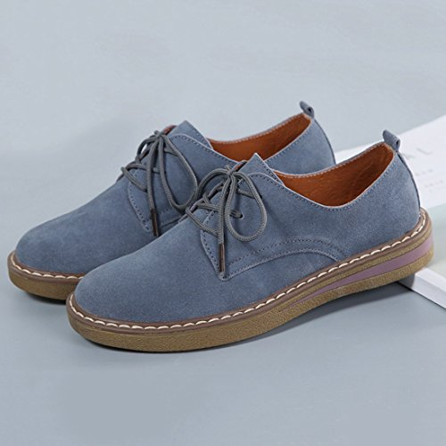 Jiyaru mujer de Zapatos liso cordones para Azul cuero qgCHx7Tg