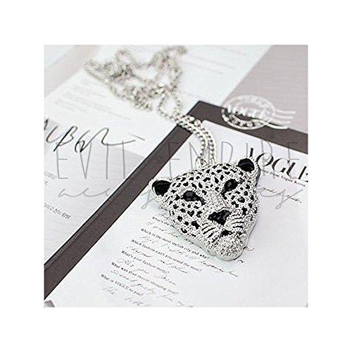 Majestic Large Pendant - EEA Majestic Leopard Head Pendant Celebrity Inspired Long Chain Necklace (Silver)