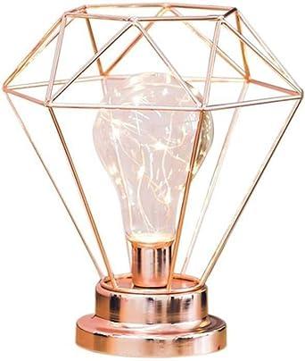 Luz de Noche de Hierro Bombilla de Diamante, Lámpara de Mesa Diamond Iron Bombilla Lámpara de Mesa con Pilas Funciona con Pilas para el Dormitorio, la Sala de Estar (Rose Gold): Amazon.es: