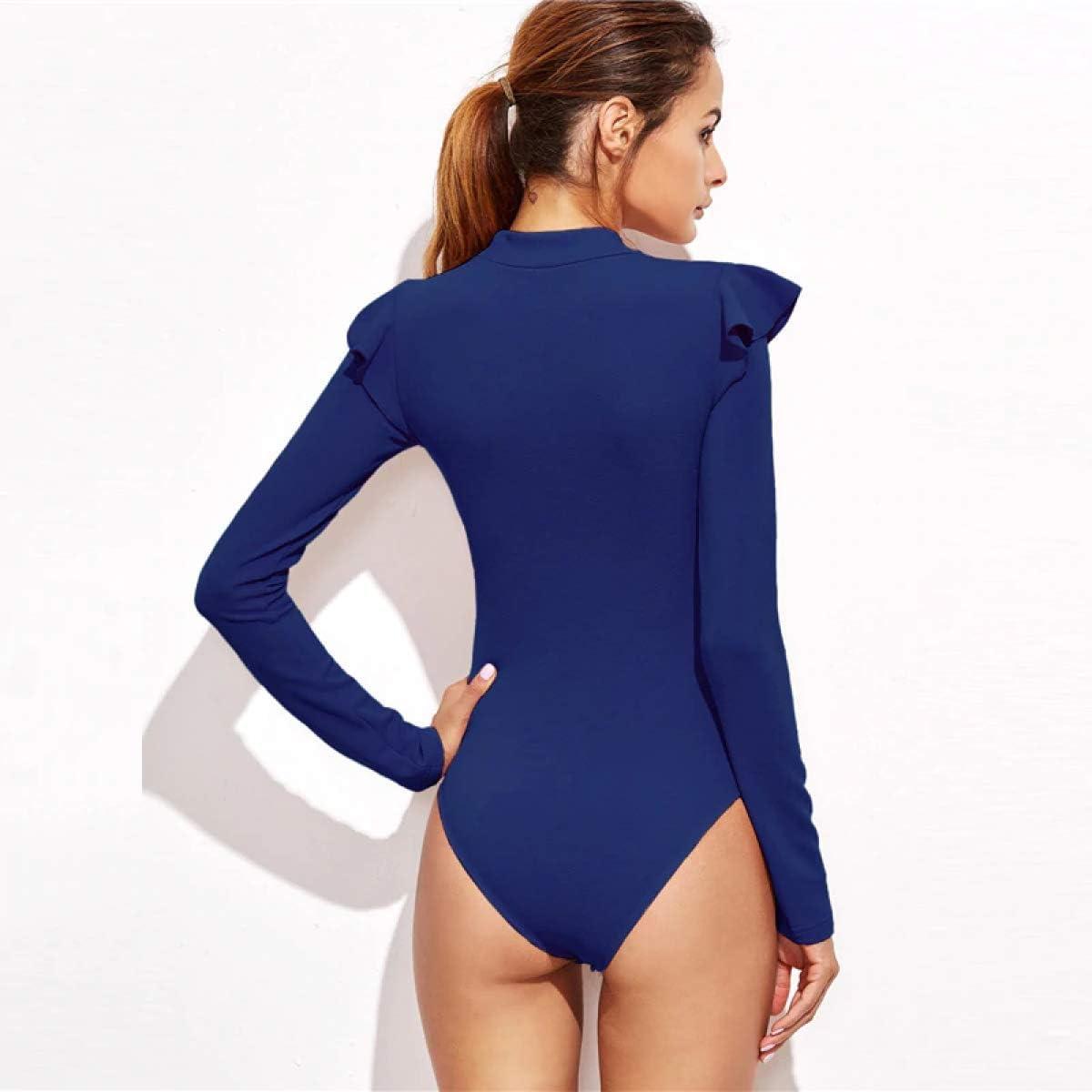 MIKI SHOP Blue Mock Neck Frill Textured Bodysuit Women Clothes Long Sleeve