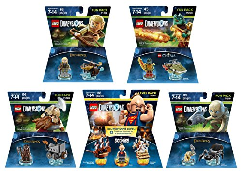 Goonies Level Pack + The Lord Of The Rings Legolas + Gimli + Gollum + The Legend Of Chima Cragger Fun Packs - LEGO Dimensions - Not Machine Specific
