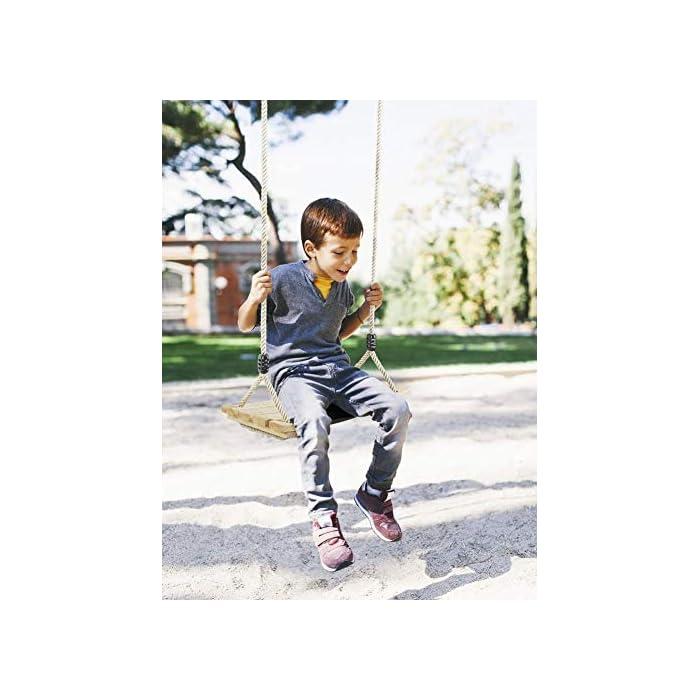 51MdPSK7oRL COLUMPIO DE ARBOL DE MADERA INTERIOR Y EXTERIOR: Nuestro columpio de árbol de madera diseñado con un asiento estriado antideslizante y lados elevados. Cuerda ajustable de 120 cm - 180 cm, anillos y accesorios de metal galvanizado También se puede colgar de una rama de árbol o una viga. El columpio de madera de colores brillantes para adultos y niños ofrece diversión , calidad y gran valor. ALTA CALIDAD: El material de madera natural le brinda seguridad y comodidad. La pintura en la superficie del asiento de madera para columpios puede protegerlo contra el moho antes de jugar afuera. viga.Peso máximo de carga: 100 kg, tamaño del asiento: 45x20x1.6cm / 17.7x7.9x0.6 pulgadas, asiento de silla de columpio grande apto para niños y adultos. Es muy seguro para usted y su familia. DISFRUTE DE LA INFANCIA CON SU FAMILIA: Pellor ¡El columpio de madera es la elección perfecta para satisfacer tu interior juguetón! Adecuado tanto para adultos como para niños promedio, tome un paseo en nuestros columpios para adultos al aire libre dentro de su hogar o patio de juegos, y disfrute de la brisa al aire libre y la sensación despreocupada de la infancia.