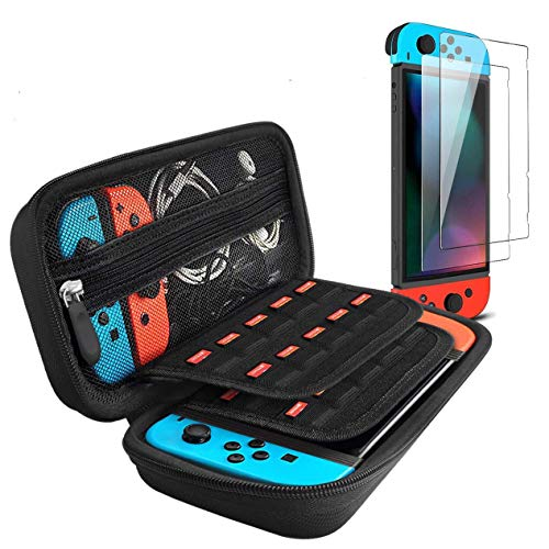 Carrying Case for Nintendo Switch Case with 2 Pack Screen Protector, iVoler Protective Portable Hard Shell Pouch…