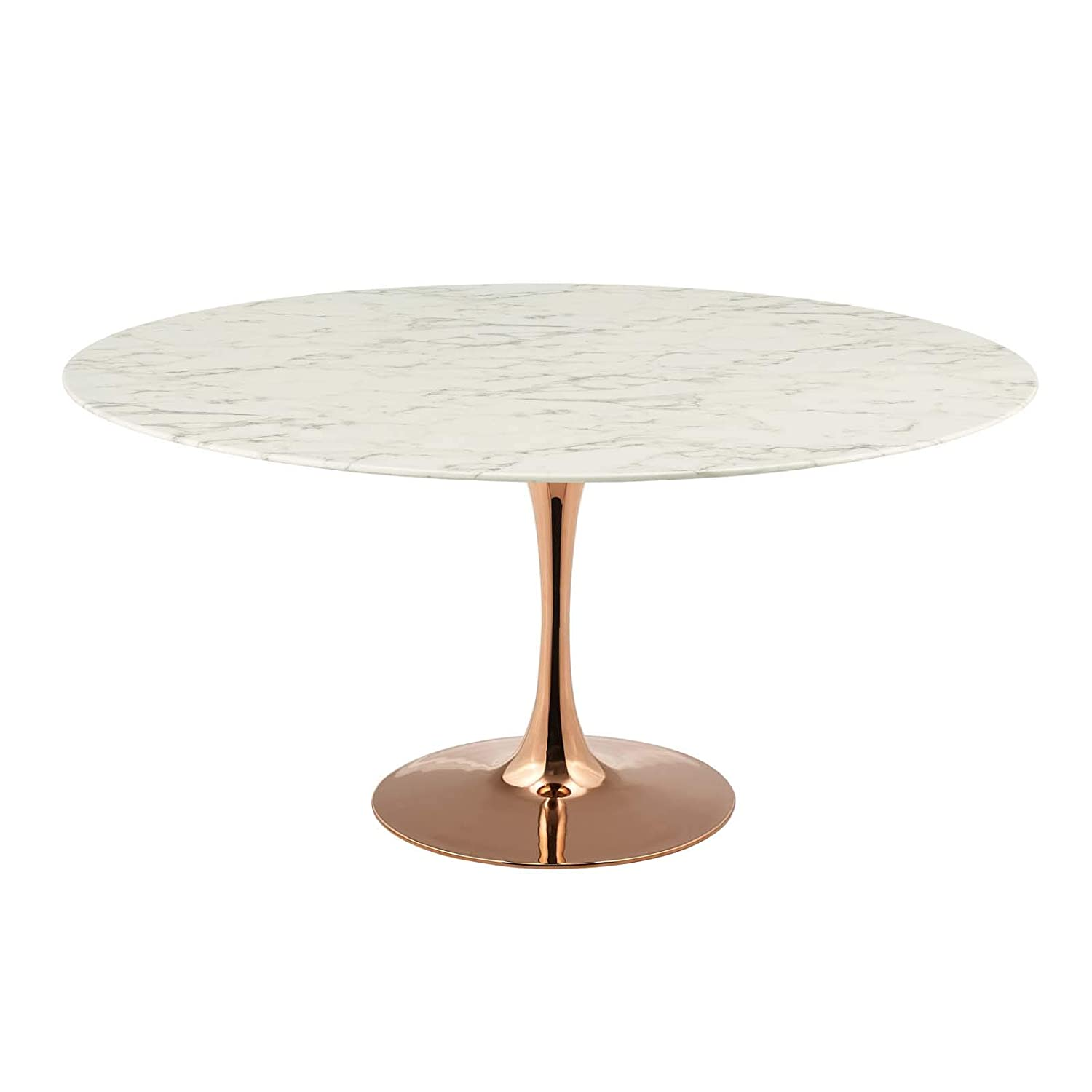 America Luxury - Tables Modern Deco Contemporary Kitchen Dining Dining Table, Metal Steel Artificial Marble, White Rose Gold